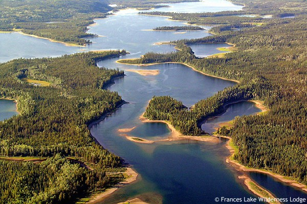 Frances Lake Wilderness Lodge - aerial view of Fraces Lake East Arm
