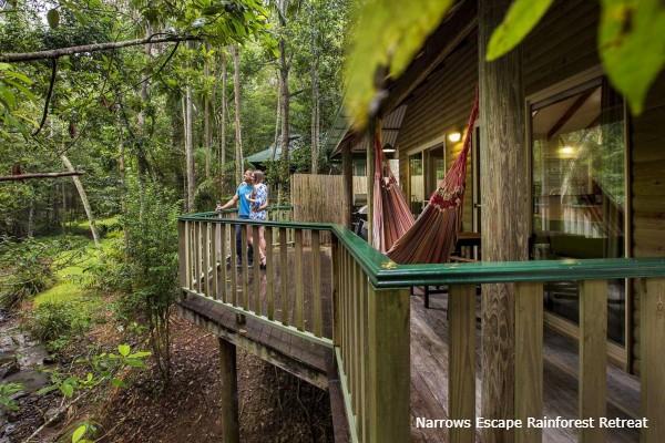 Montville, Narrows Escape Rainforest Retreat, deck - rondreis Australië, opDroomreis.nu
